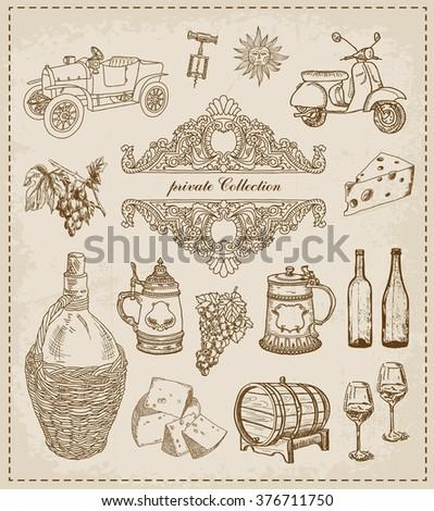 Wine. Vintage set - stock vector