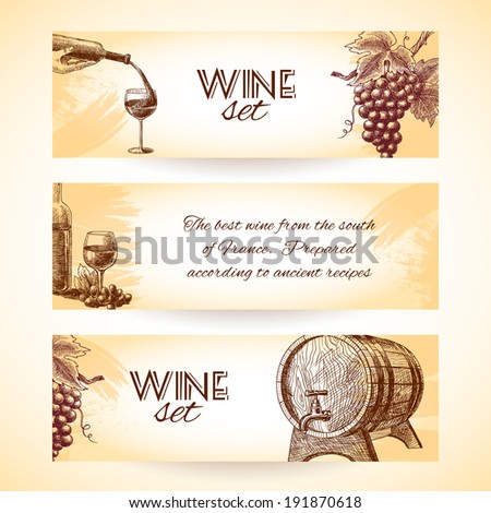 Wine vintage sketch banners set of wineglass bottle and barrel isolated vector illustration - stock vector