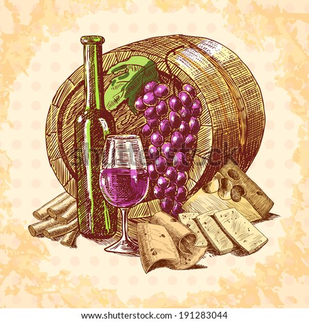 Wine vintage sketch decorative hand drawn background with barrel bottle and glass vector illustration - stock vector