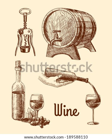 Wine vintage sketch decorative icons set of corkscrew barrel bottle isolated vector illustration - stock vector