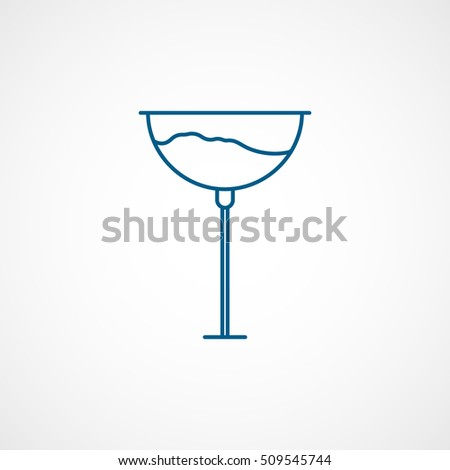 Wineglass Blue Line Icon On White Background
