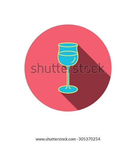 Wineglass icon. Goblet sign. Alcohol drink symbol. Red flat circle button. Linear icon with shadow. Vector - stock vector