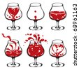 Wineglass illustrations set - stock vector