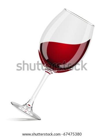 Wineglass with red wine vector - stock vector