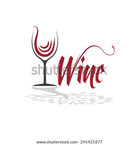 wineglass with tree shadow vector design template