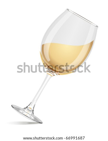 Wineglass with white wine vector - stock vector
