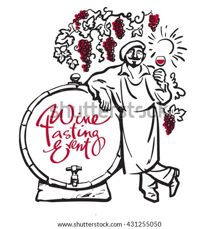 Winemaker tasting red wine in glass smiling leaning on barrel in vineyard Hand drawn sketch vector Design for wine tasting events invitation for wine festivals party restaurant bar wine list menu card - stock vector