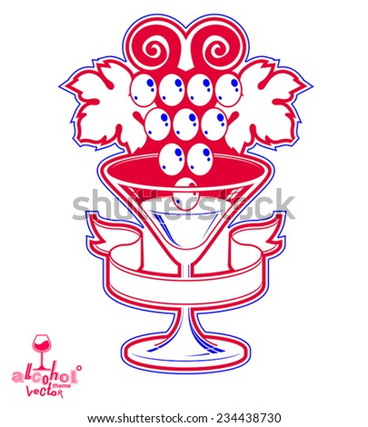 Winery award theme vector illustration. Elegant half full glass of wine with grape vine and decorative ribbon, racemation symbol best for use in advertising and graphic design. - stock vector