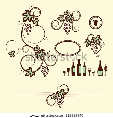 Winery design objects set. Vector illustration. - stock vector