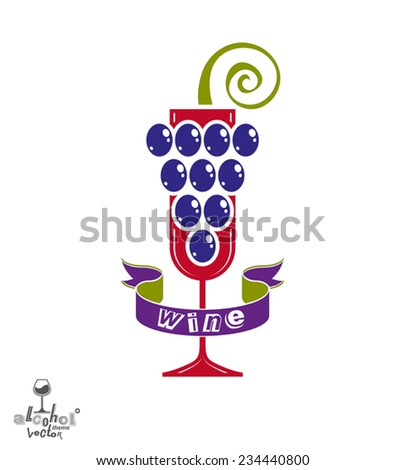 Winery idea eps8 vector illustration. Elegant glass of wine with grapes cluster and decorative ribbon, racemation symbol best for use in advertising and graphic design. Alcohol theme element. - stock vector