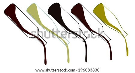 Wines of Europe Pouring Bottles Illustration - stock vector
