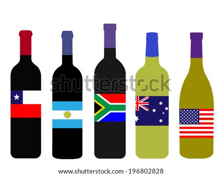 Wines of the World Bottles with Flags - stock vector