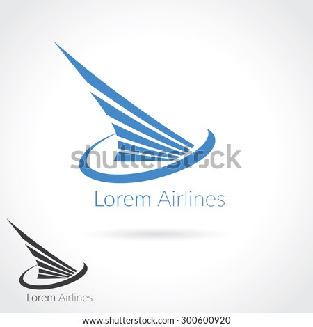 Wing abstract Logo template for flight company, air shipping, airlines logotype or emblem. - stock vector