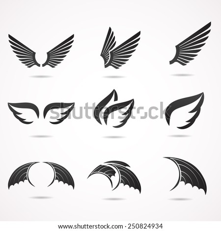 Wing icons collection. Vector illustration. - stock vector