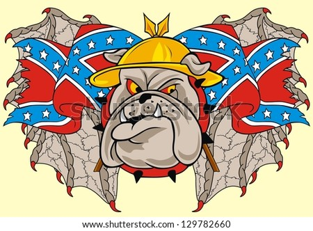 wing rebel flag and bulldog