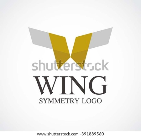 Wing ribbon of symmetry abstract vector and logo design or template flying business icon of company identity symbol concept - stock vector