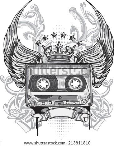 Winged audio cassette & graffiti arrows - stock vector
