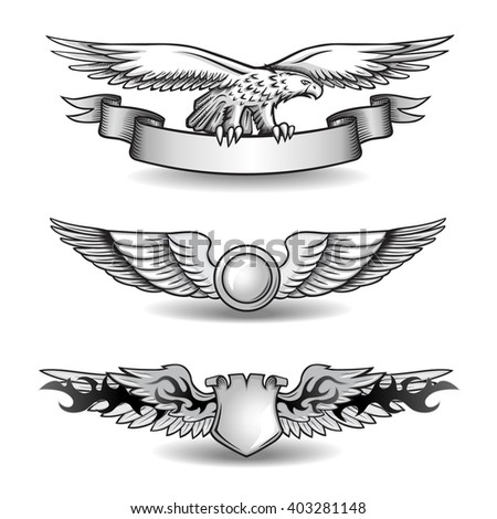 Winged Awards Set with Eagle - stock vector
