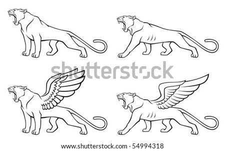 winged cat coloring pages - winged cat stock vector 54994318 shutterstock
