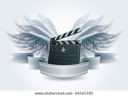 Winged clapboard banner illustration. Elements are layered separately in vector file. Easy editable. - stock vector
