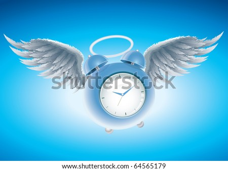 Winged clock vector illustration. CMYK color mode. Elements are layered separately in vector file. - stock vector