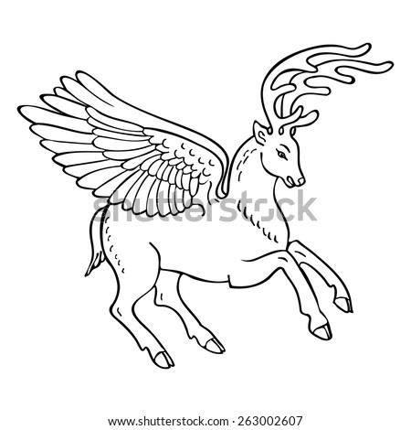 Winged deer mythical beast