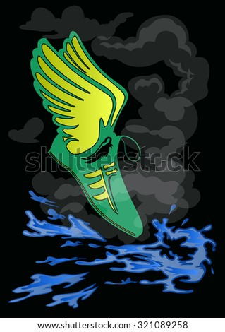 winged green shoe floating on splash blue water and smoke on black background - stock vector