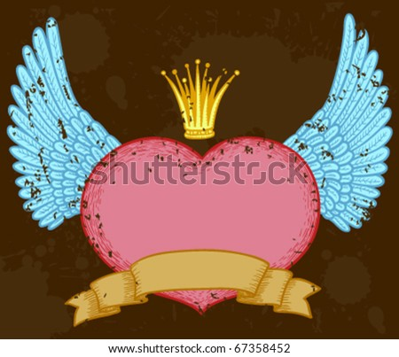 Winged heart banner with crown - stock vector
