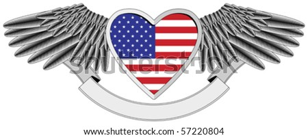 winged heart with the U.S. flag - stock vector