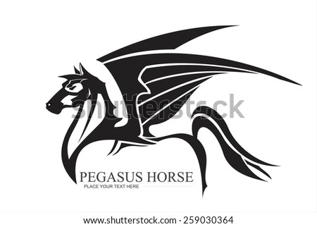 winged horse in black and white. pegasus in black and white. horse with the tribal style. side view winged horse combine with text. artistic winged horse. artistic pegasus.  - stock vector