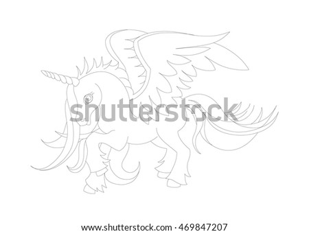 Winged Horse. Magical Horse.