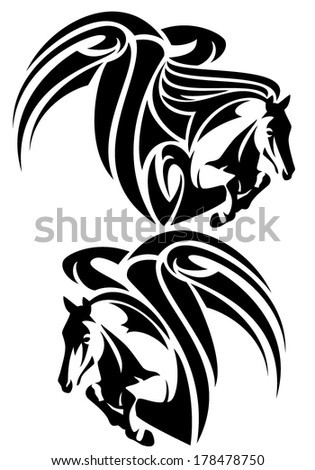 winged horses emblem - black and white tribal style pegasus outlines - stock vector
