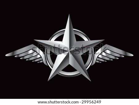 winged icon featuring silver star - stock vector