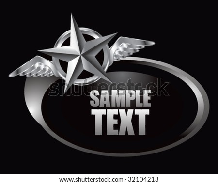 winged icon featuring silver star on silver swoosh banner - stock vector