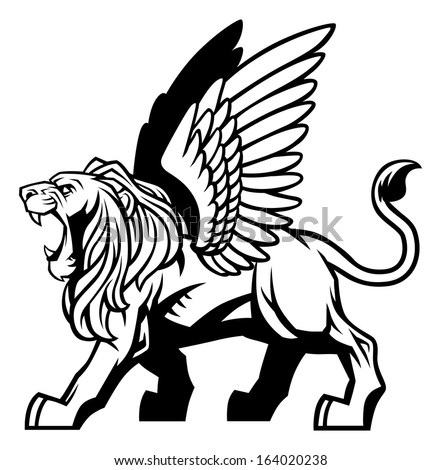 winged lion - stock vector