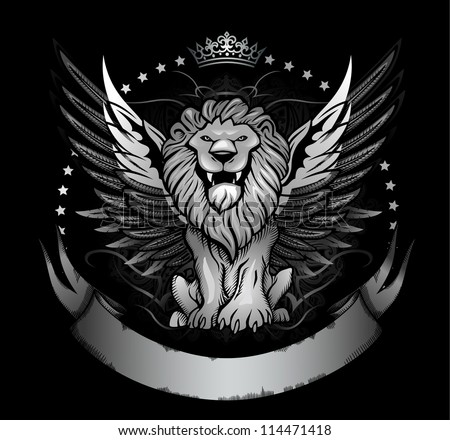 Winged Lion Front View Insignia - stock vector