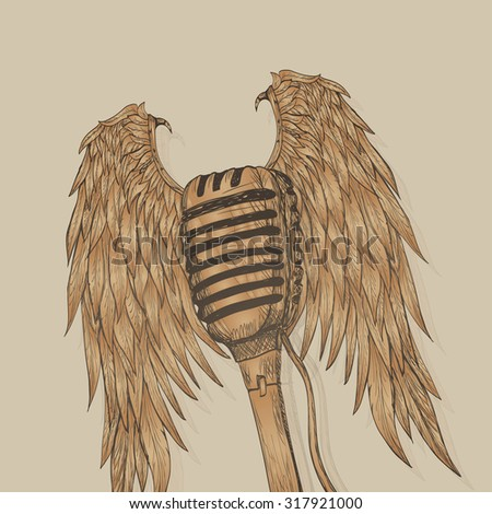 Winged microphone - stock vector