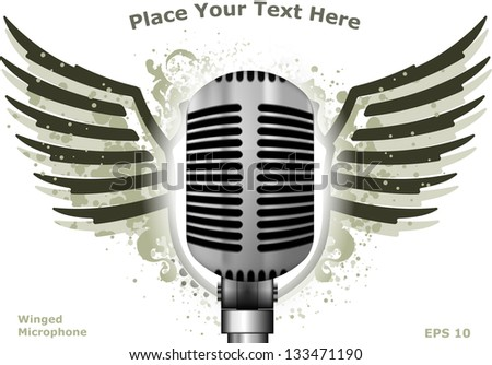 Winged microphone. Vector illustration - stock vector
