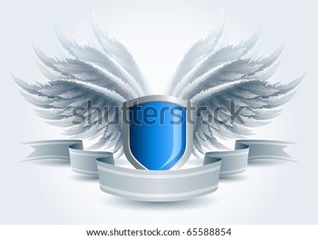 Winged shield banner. Security concept. Elements are layered separately in vector file. Easy editable. - stock vector