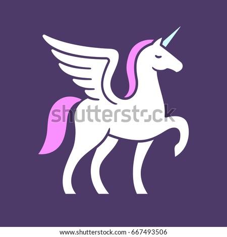 Winged Unicorn Logo Vector Illustration Stylized Stock Vector