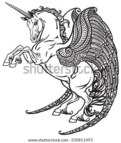 winged unicorn mythological horse . Black and white image