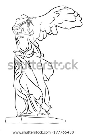 Winged Victory Of Samothrace isolated on white - stock vector