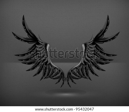 Wings black, vector - stock vector