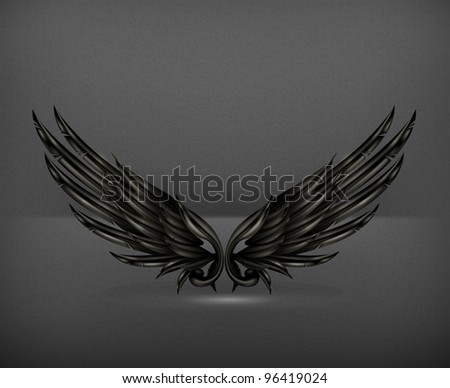 Wings black, vector - stock vector