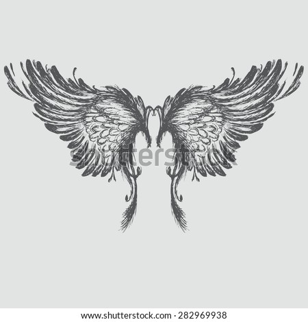 Wings,hand drawing, vector illustration. - stock vector