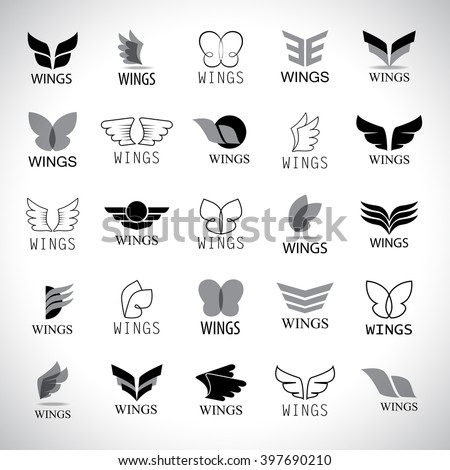 Wings Icons Set-Isolated On Gray Background-Vector Illustration - stock vector