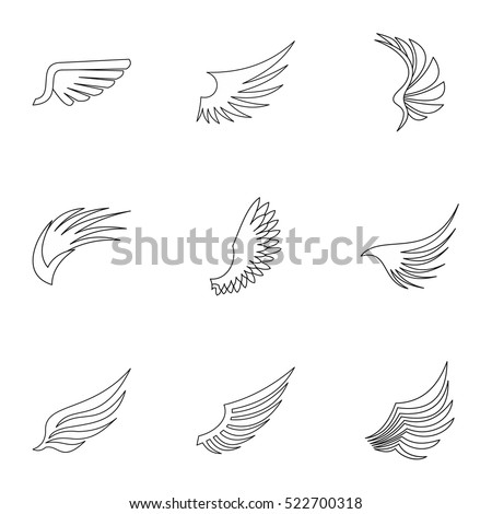 Wings icons set. Outline illustration of 9 wings vector icons for web
