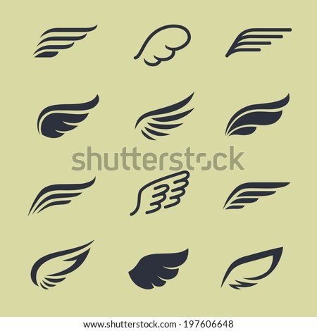 Wings icons vector set  - stock vector