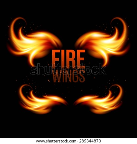 Wings in Flame and Fire. Illustration on black EPS 10 - stock vector