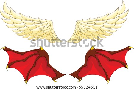 wings of an angel and a demon - stock vector
